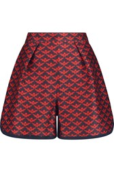Mother Of Pearl Addison Printed Cotton And Silk Blend Shorts Red