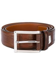 Santoni Croc Effect Belt Men Leather 100 Brown
