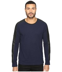 Kenneth Cole Texture Crew With Nylon Indigo Men's Clothing Blue