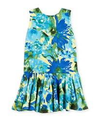 Helena Sleeveless Stretch Jersey Floral Fit And Flare Dress Royal Size 7 14