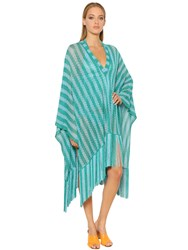 Missoni Striped Lace Knit Poncho With Fringe