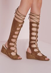 Missguided Knee High Wedge Gladiator Sandals Tan Brown