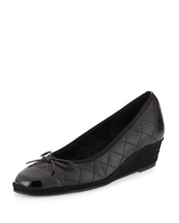 Sesto Meucci Margie Quilted Cap Toe Wedge Pump Black Women's