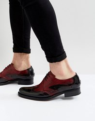 Jeffery West Cordioni Mixed Leather Brogue Shoes In Black Black