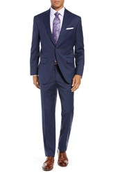David Donahue Ryan Classic Fit Houndstooth Wool Suit Blue