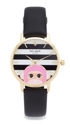 Kate Spade Novelty Leather Watch Black White Gold