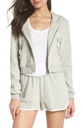 Make Model Baby Crop Terry Zip Hoodie Grey Pearl Heather