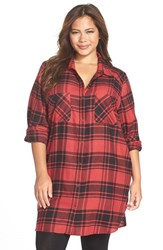 Plus Size Women's Make Model Flannel Nightshirt Red Beauty Mandy Plaid