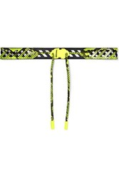 Off White Neon Snake Effect Leather Belt Yellow