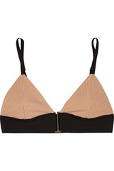 Noe Rae Ribbed Stretch Jersey Soft Cup Bra Nude
