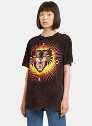 Gucci Embroidered Tiger Crew Neck T Shirt Black