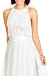 Dessy Collection Women's Lace Halter Style Crop Top