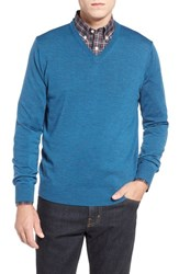 Men's Thomas Dean Regular Fit V Neck Merino Wool Sweater Blue