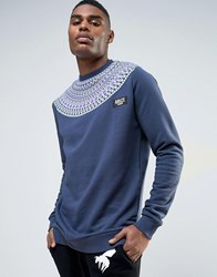 Abuze London Fairisle Wrap Sweater Blue