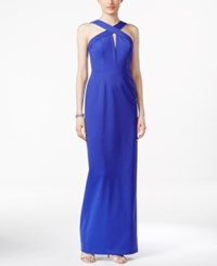 Adrianna Papell Sleeveless Keyhole Cross Front Gown Blue