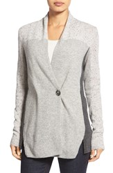 White Warren Colorblock Wrap Front Cashmere Cardigan Grey Tweed Multi