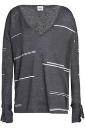 Charli Tie Detailed Striped Linen Sweater Anthracite