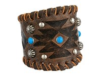American West Cuff Bracelet Distressed Charcoal Brown Turquoise Southwest Tooled Bracelet