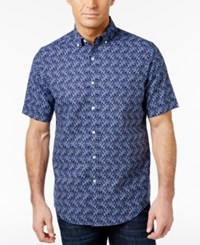 Club Room Men's Coral Print Shirt Only At Macy's Navy Blue