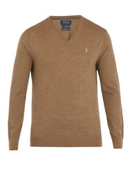 Polo Ralph Lauren V Neck Logo Embroidered Wool Sweater Camel