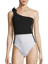 Fleur Du Mal One Piece Striped Lace Insert One Shoulder Swimsuit White Black