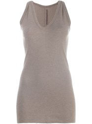 Rick Owens Lilies Racer Back V Neck Tank Nude And Neutrals