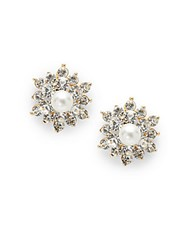 Saks Fifth Avenue Estate Pearl And Crystal Stud Earrings Silver