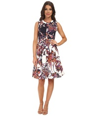 Adrianna Papell Printed Eyelet Shirt Dress Navy Ivory Women's Dress Blue