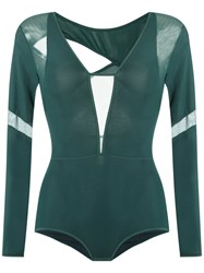 Giuliana Romanno Long Sleeves Bodysuit Women Polyamide Spandex Elastane G Green