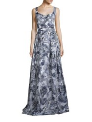 St. John Metallic Floral Gown Navy Silver