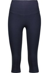 Yummie Tummie By Heather Thomson Jocelyn Cropped Stretch Cotton Leggings Midnight Blue