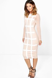 Boohoo Gia Grid Mesh Bodycon Midi Dress Nude