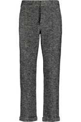 See By Chloe Houndstooth Cotton And Wool Blend Straight Leg Pants Gray