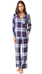 Plush Ultra Soft Long Sleeve Plaid Pj Set Navy Plaid