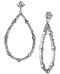 Carolee Silver Tone Cubic Zirconia Drop Hoop Earrings Lt White