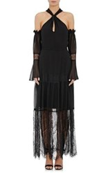 Nicholas Women's Georgette And Lace Tiered Maxi Dress Black
