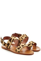 Red Valentino R.E.D. Leather Sandals With Printed Calf Hair Animal Print