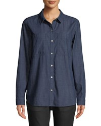 Eileen Fisher Organic Cotton Denim Pocket Shirt Service Blue