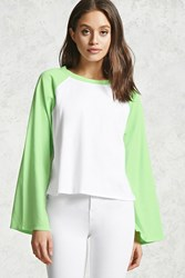 Forever 21 Vented Sleeve Baseball Tee White Lime