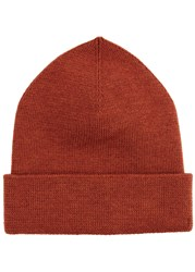 Norse Projects Rust Merino Wool Beanie Orange