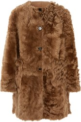 Marni Reversible Shearling And Leather Coat Brown