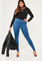 Missguided Plus Size Blue High Waisted Slash Knee Skinny Jeans