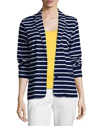 Joan Vass Striped Two Button Jacket Plus Size Navy White