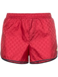Gucci Monogram Bee Embroidery Swim Shorts Red