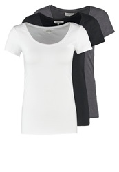 Zalando Essentials 3 Pack Basic Tshirt Black White Dark Grey