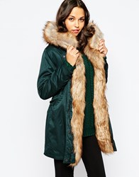 Pull And Bear Pullandbear Detachable Fur Lined Parka Verdpato
