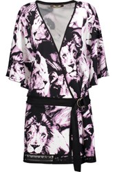 Roberto Cavalli Wrap Effect Printed Jersey Mini Dress Purple