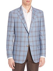 Hickey Freeman Plaid Classic Fit Sportcoat Light Blue