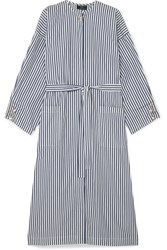 Mother Of Pearl Faux Embellished Striped Organic Cotton Poplin Dress Navy Gbp