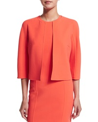 Michael Kors Collection 3 4 Sleeve Open Front Jacket Persimmon Persimon